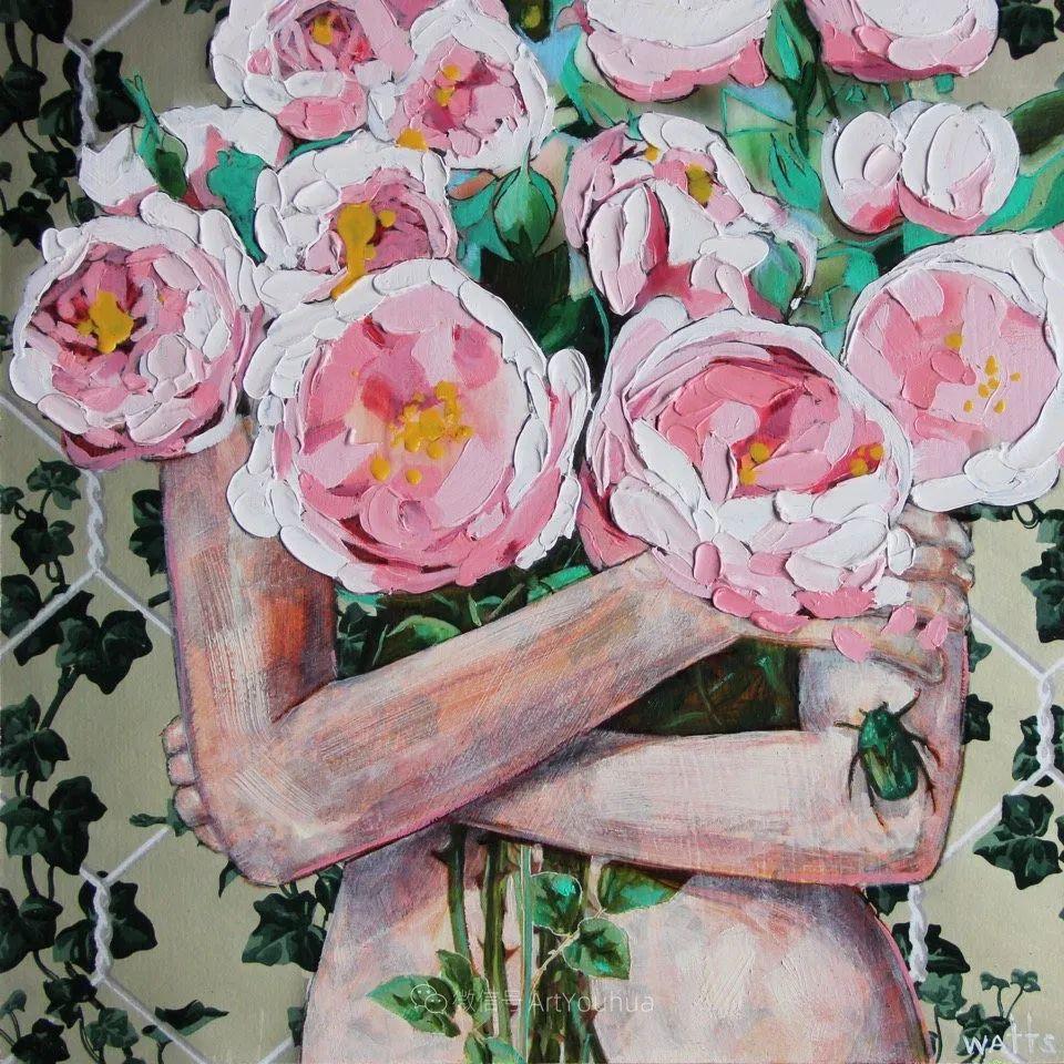 拥抱鲜花的女子,澳大利亚艺术家杰西卡·沃茨插图27