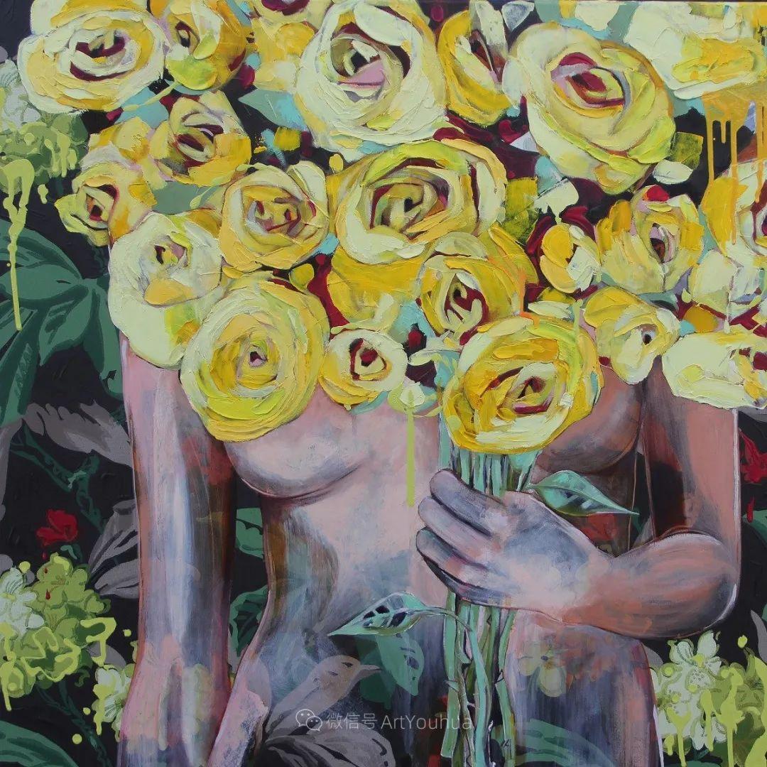 拥抱鲜花的女子,澳大利亚艺术家杰西卡·沃茨插图28