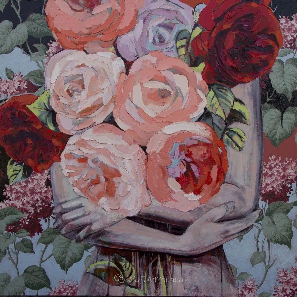 拥抱鲜花的女子,澳大利亚艺术家杰西卡·沃茨插图29