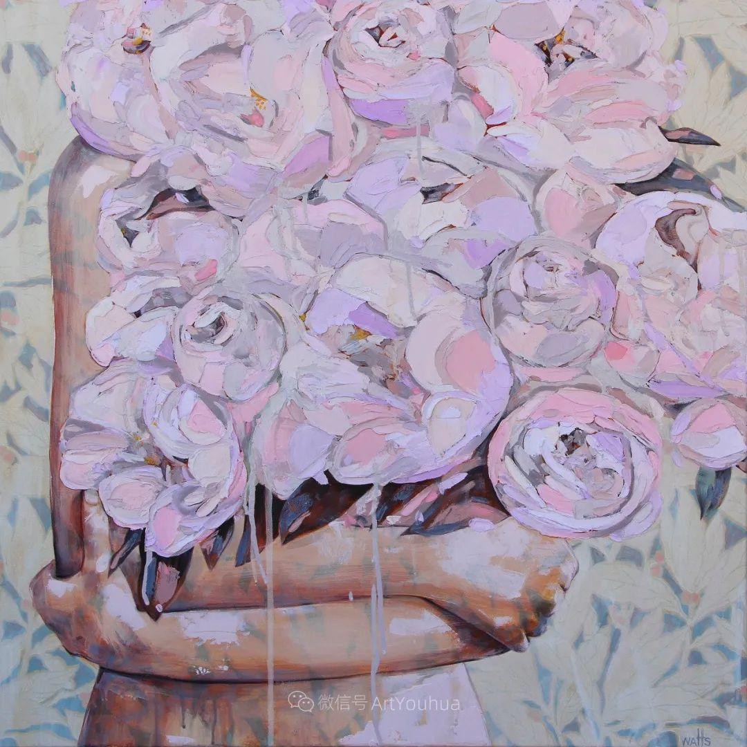 拥抱鲜花的女子,澳大利亚艺术家杰西卡·沃茨插图30