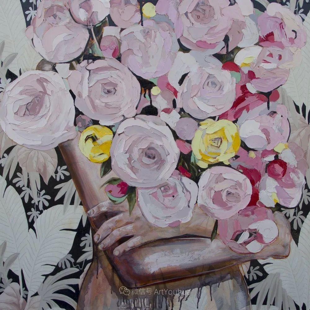 拥抱鲜花的女子,澳大利亚艺术家杰西卡·沃茨插图31