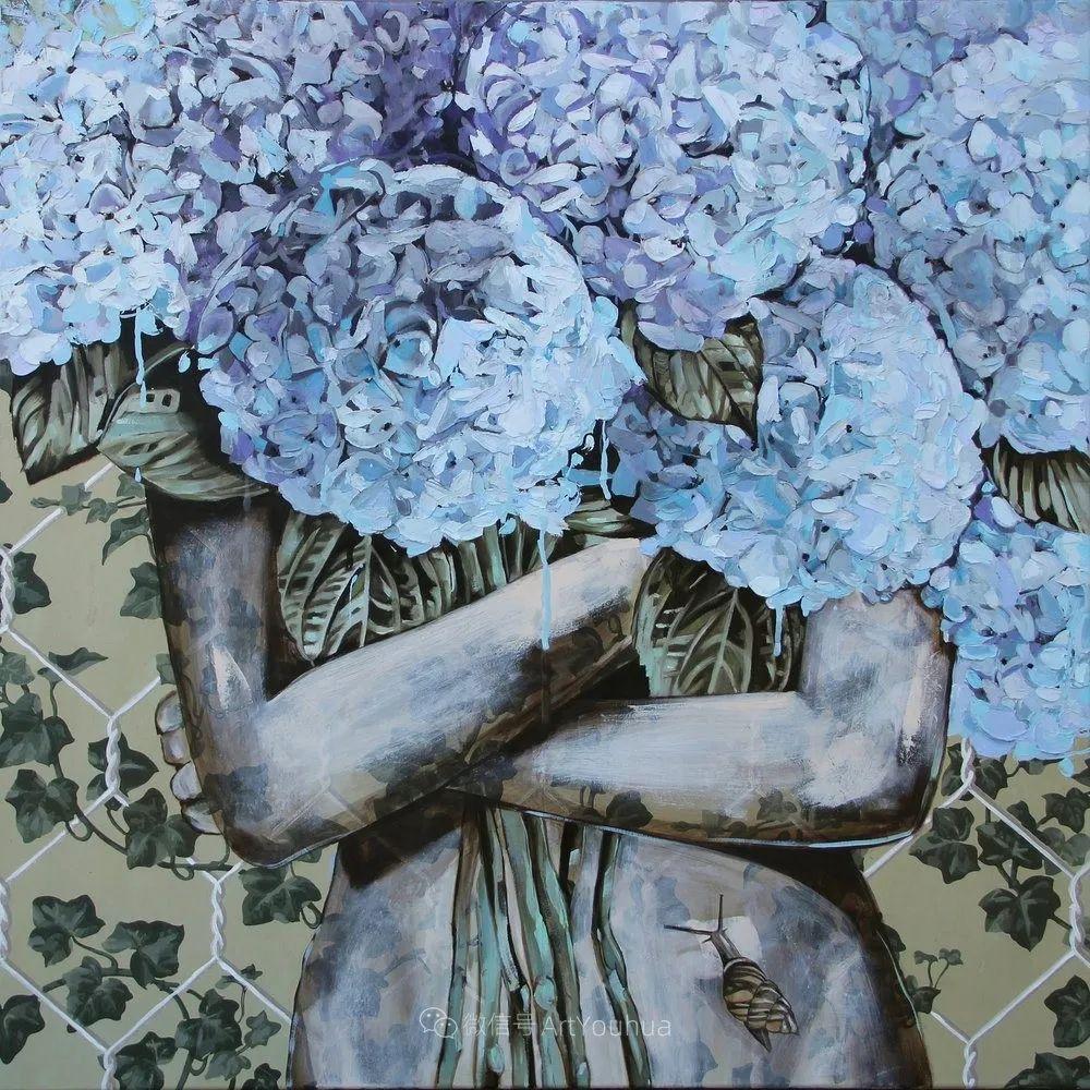 拥抱鲜花的女子,澳大利亚艺术家杰西卡·沃茨插图32