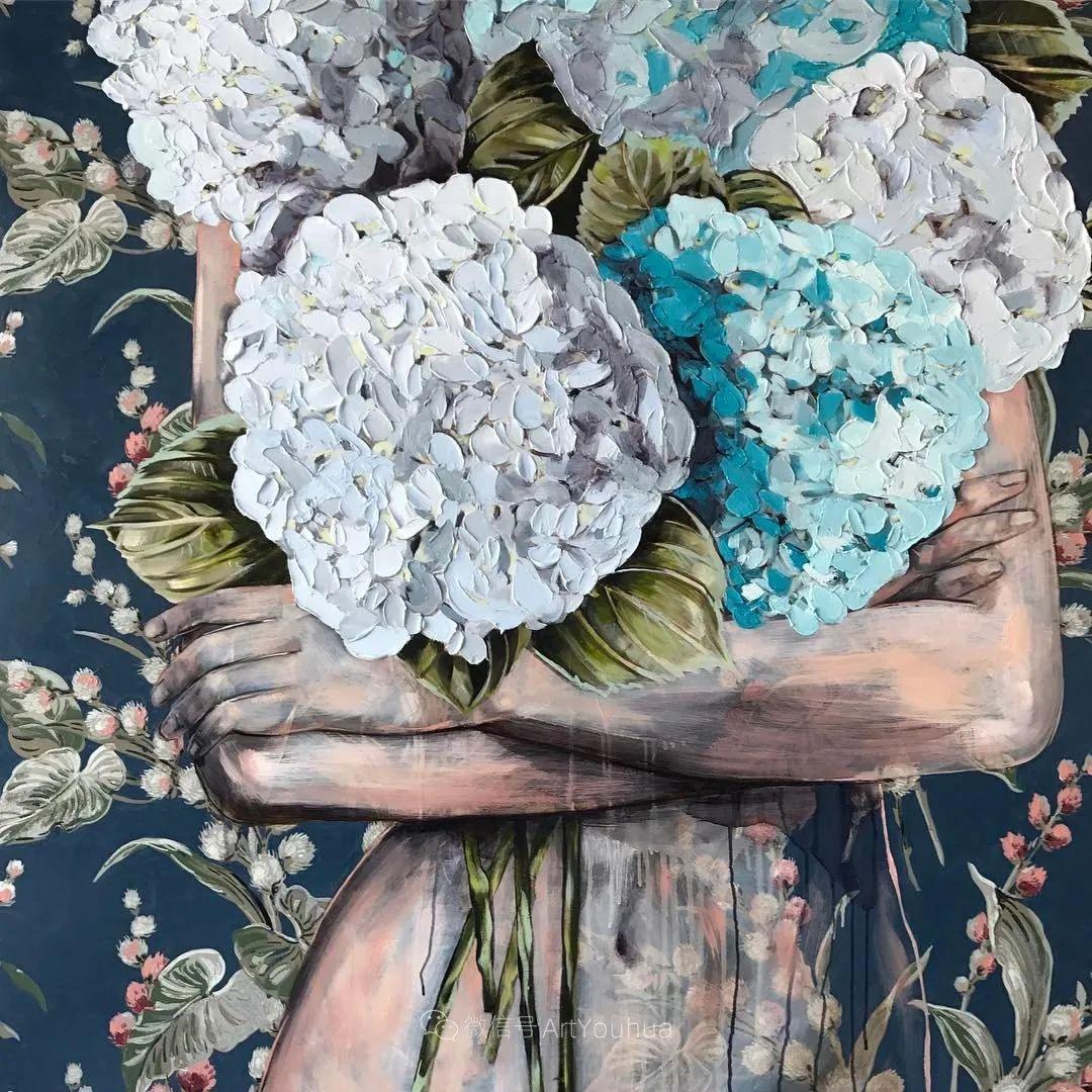 拥抱鲜花的女子,澳大利亚艺术家杰西卡·沃茨插图33