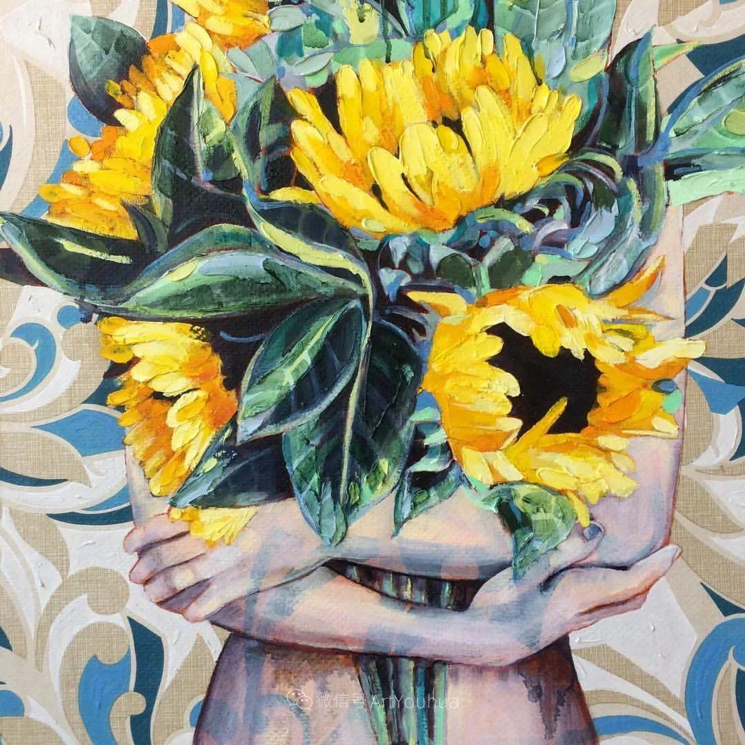 拥抱鲜花的女子,澳大利亚艺术家杰西卡·沃茨插图34