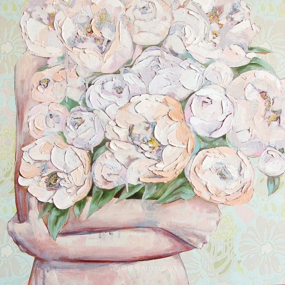 拥抱鲜花的女子,澳大利亚艺术家杰西卡·沃茨插图36