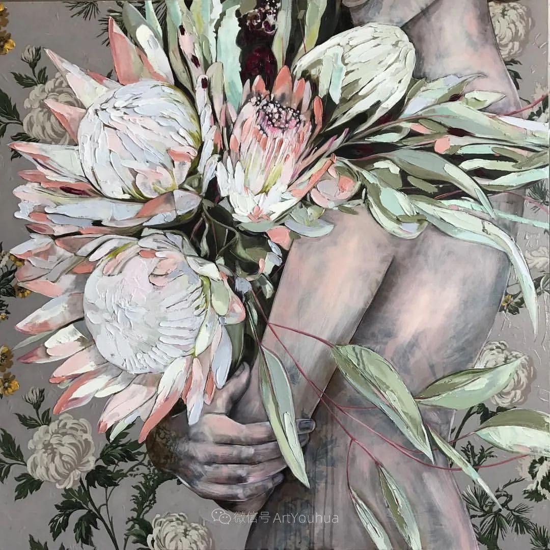 拥抱鲜花的女子,澳大利亚艺术家杰西卡·沃茨插图37