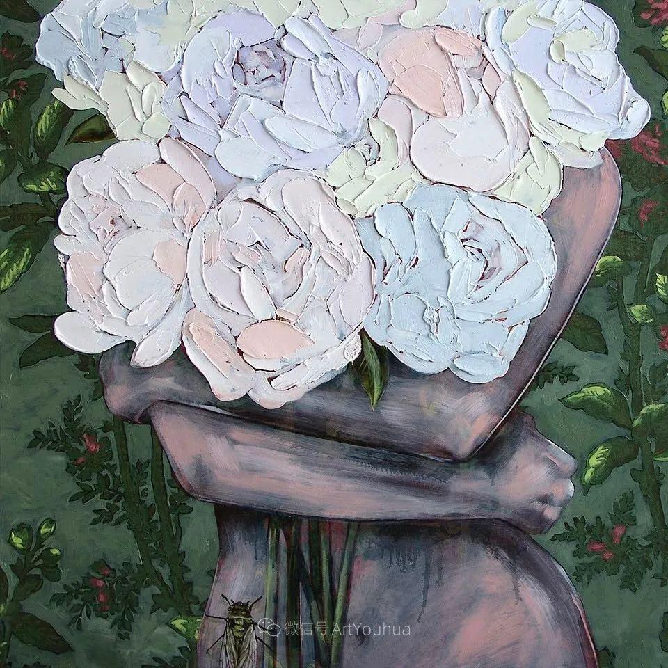 拥抱鲜花的女子,澳大利亚艺术家杰西卡·沃茨插图38
