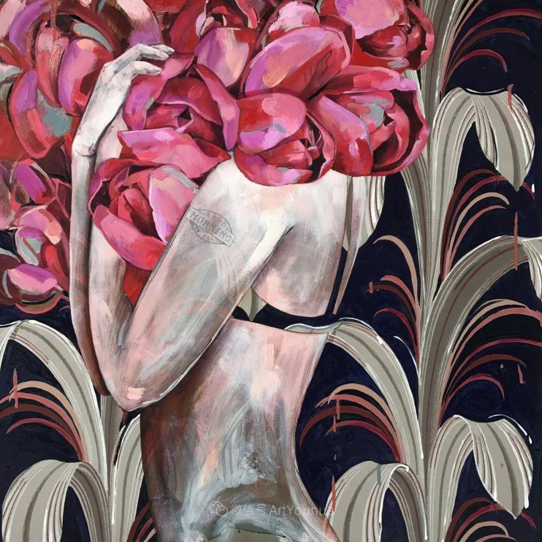 拥抱鲜花的女子,澳大利亚艺术家杰西卡·沃茨插图39