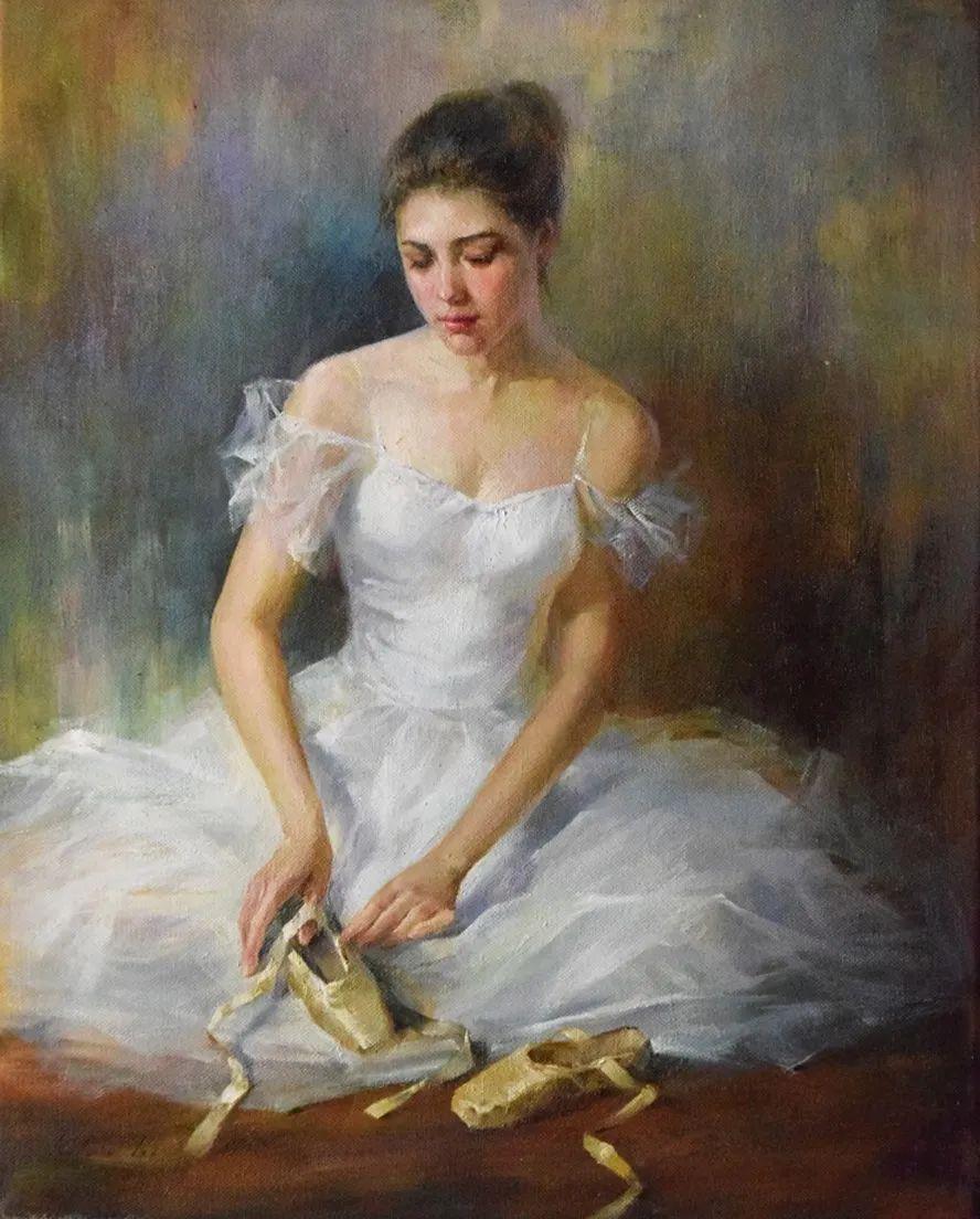 他画中的舞女,有种静谧的美!美籍华裔画家凯文·雷插图