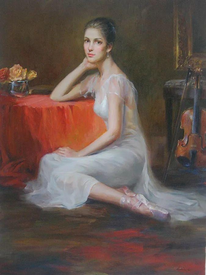 他画中的舞女,有种静谧的美!美籍华裔画家凯文·雷插图2