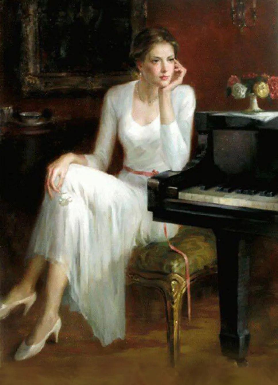 他画中的舞女,有种静谧的美!美籍华裔画家凯文·雷插图3