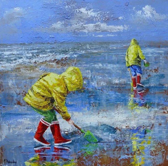 海边玩耍的小孩,法国艺术家Patricia Debuchy插图1