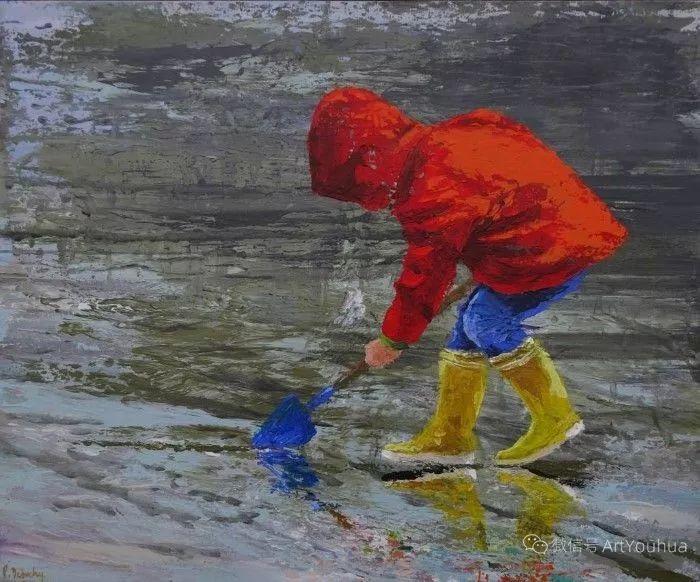 海边玩耍的小孩,法国艺术家Patricia Debuchy插图3