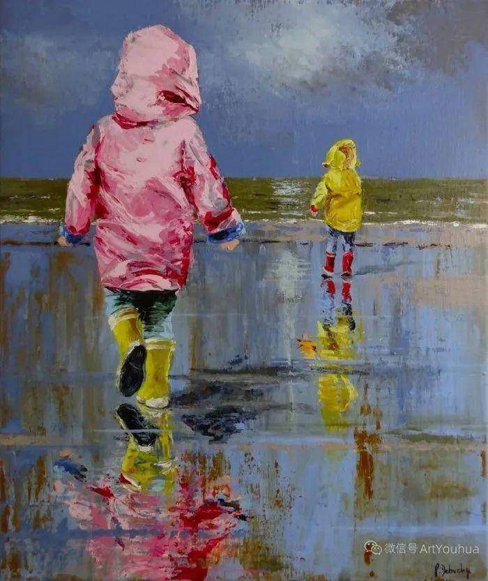 海边玩耍的小孩,法国艺术家Patricia Debuchy插图7