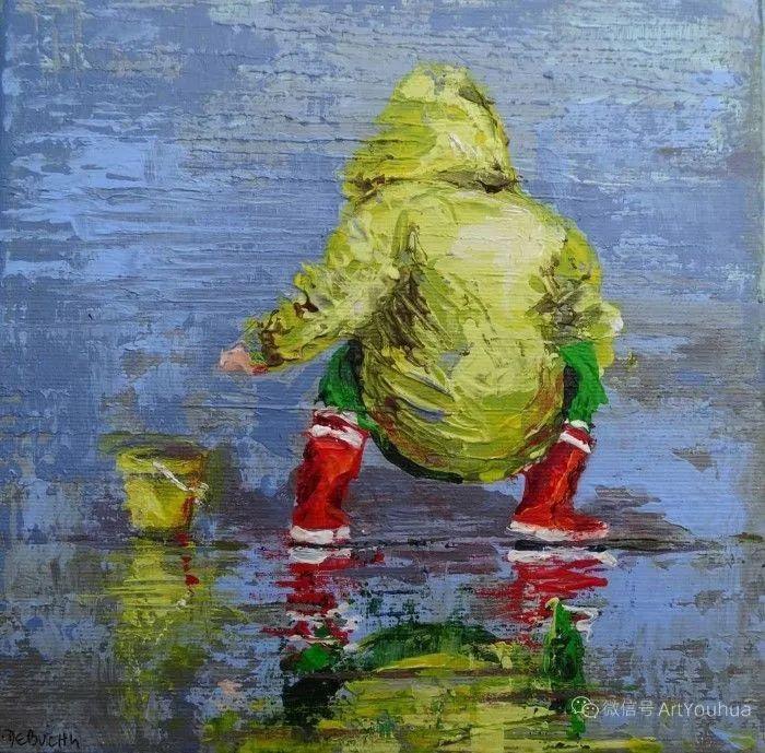 海边玩耍的小孩,法国艺术家Patricia Debuchy插图9