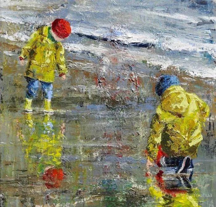 海边玩耍的小孩,法国艺术家Patricia Debuchy插图11