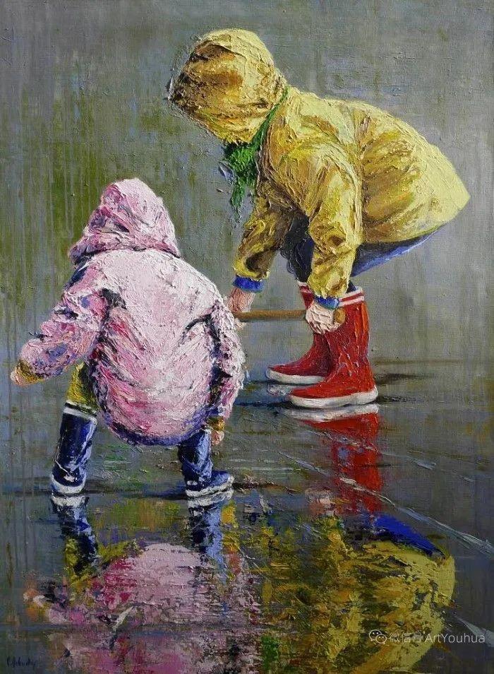 海边玩耍的小孩,法国艺术家Patricia Debuchy插图13