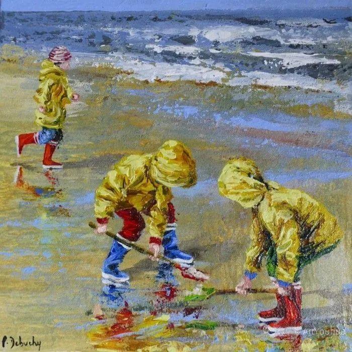 海边玩耍的小孩,法国艺术家Patricia Debuchy插图17