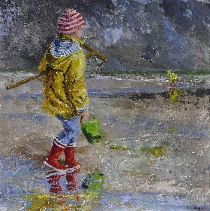 海边玩耍的小孩,法国艺术家Patricia Debuchy插图19