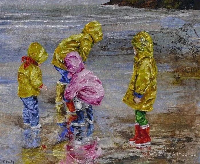 海边玩耍的小孩,法国艺术家Patricia Debuchy插图21