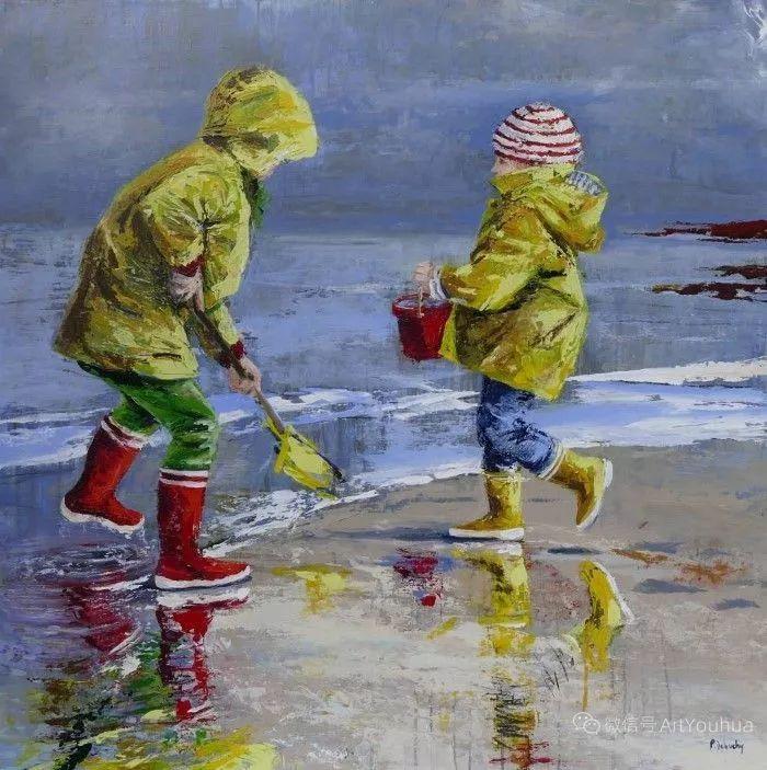 海边玩耍的小孩,法国艺术家Patricia Debuchy插图23