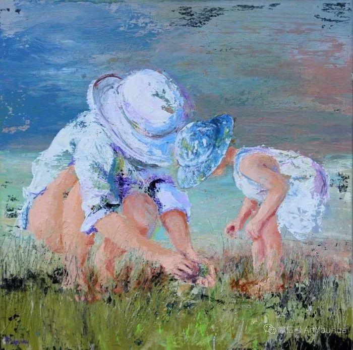 海边玩耍的小孩,法国艺术家Patricia Debuchy插图33