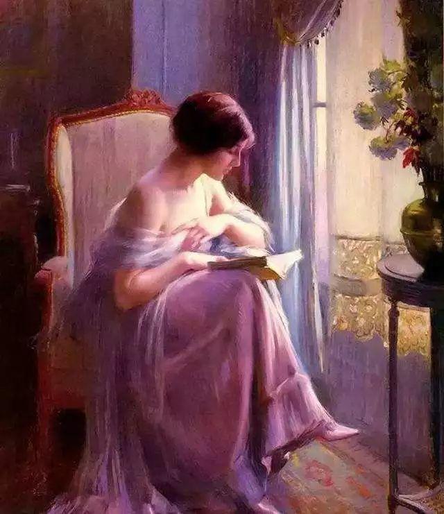 油画里致美的书香女人插图1