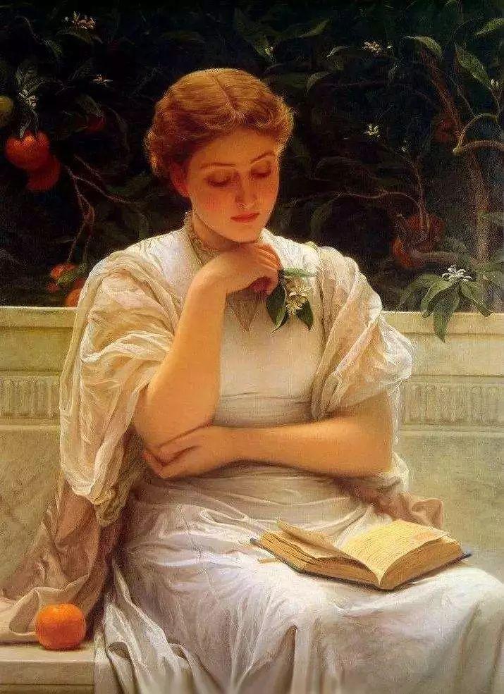 油画里致美的书香女人插图2