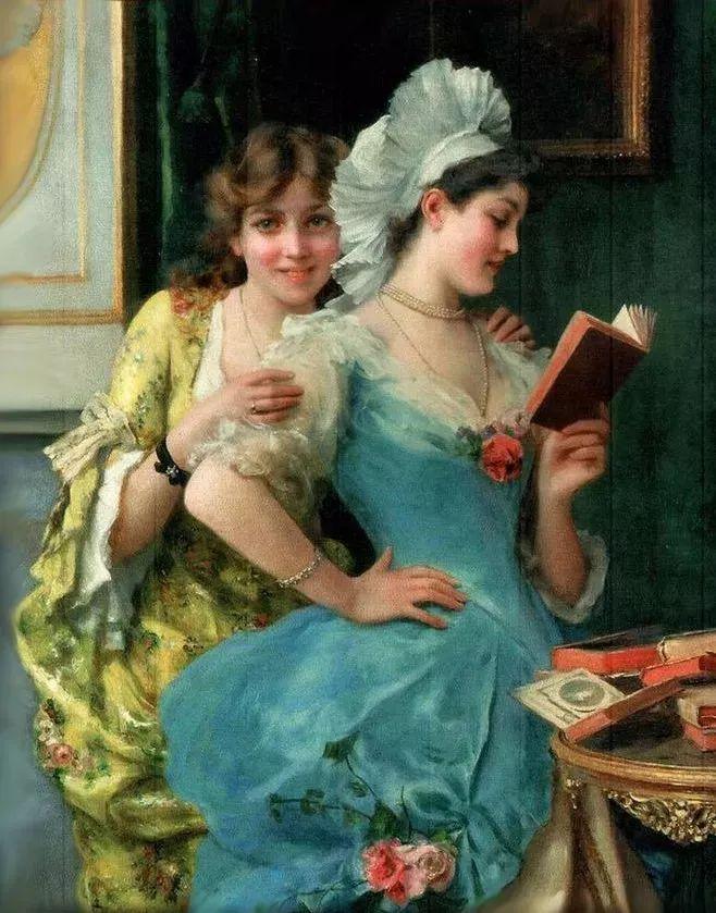 油画里致美的书香女人插图8
