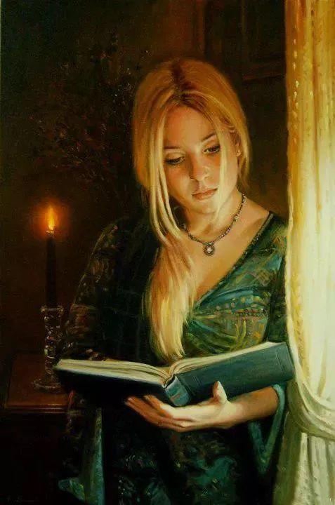 油画里致美的书香女人插图9
