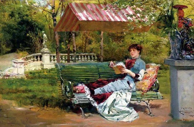 油画里致美的书香女人插图10