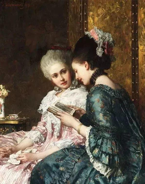 油画里致美的书香女人插图12