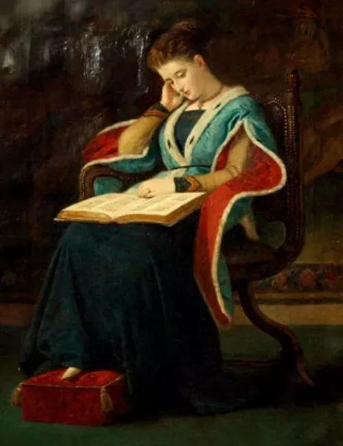 油画里致美的书香女人插图14