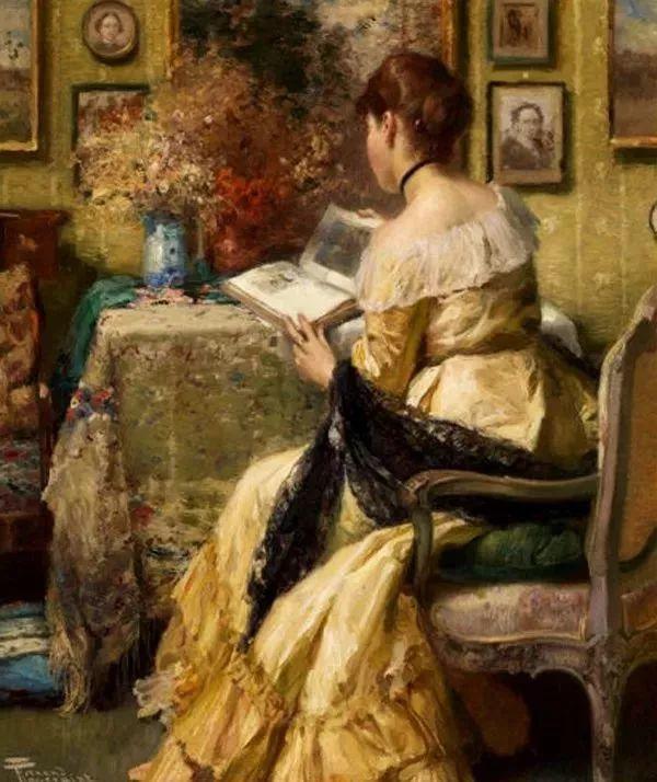油画里致美的书香女人插图16