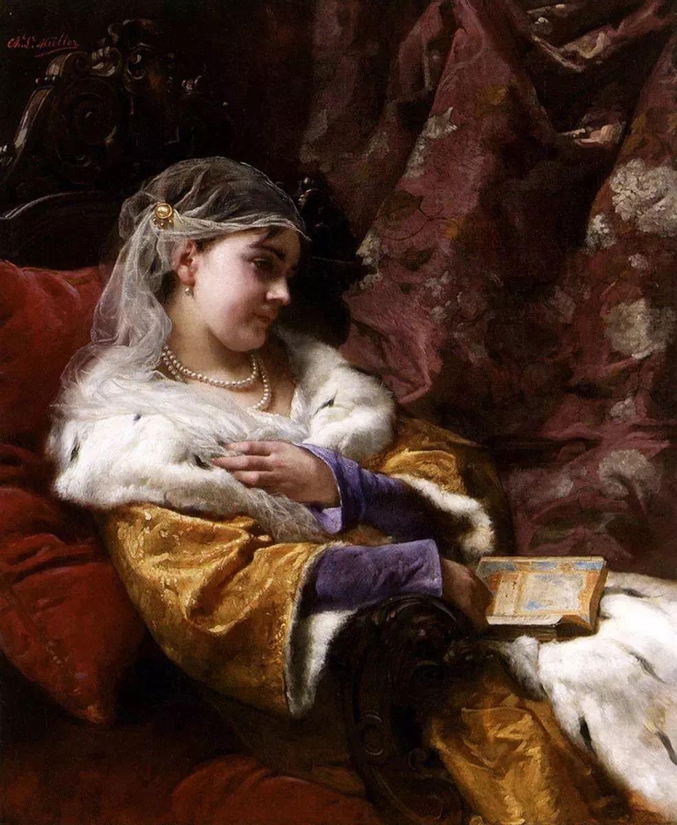 油画里致美的书香女人插图25