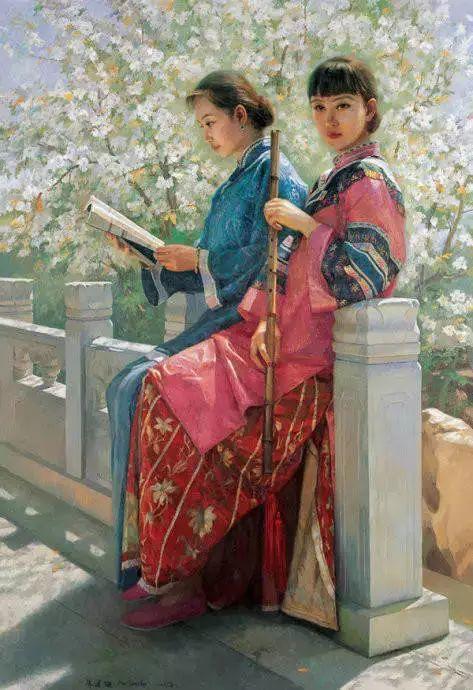 油画里致美的书香女人插图32