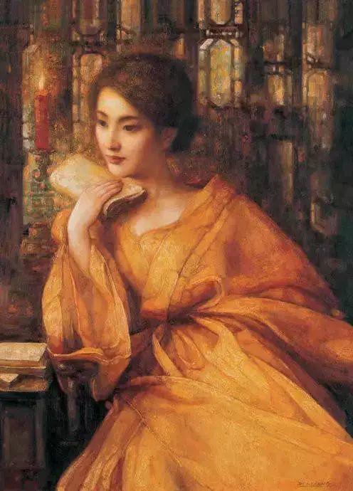 油画里致美的书香女人插图37