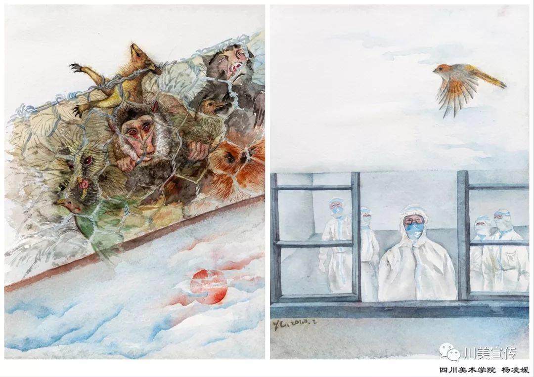 疫情当前,九大美院及千名画家用作品为武汉加油!看后暖哭了…插图98