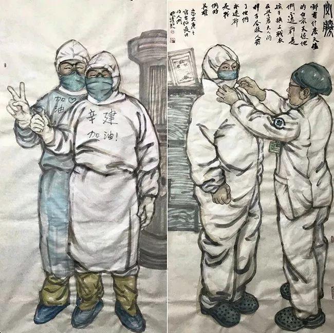 疫情当前,九大美院及千名画家用作品为武汉加油!看后暖哭了…插图133