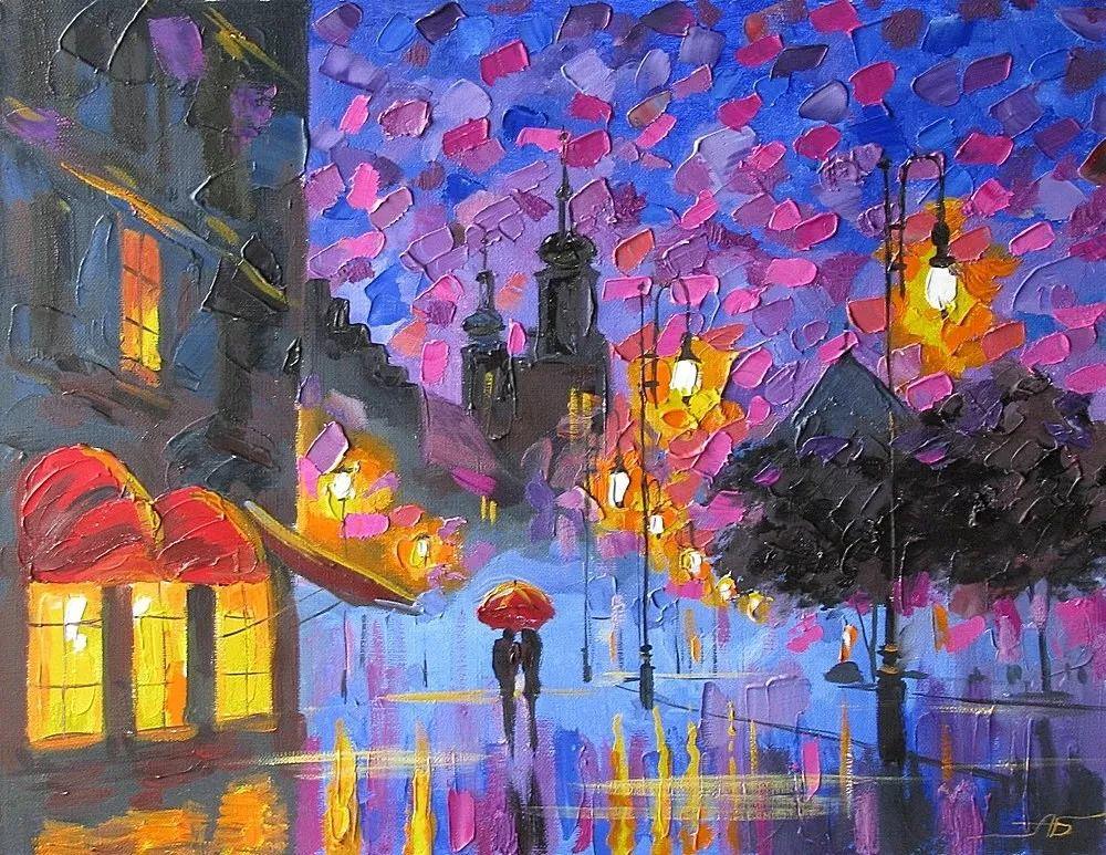 他笔下的路灯街景,很浪漫,暖心!乌克兰艺术家亚历山大·博洛托夫插图1