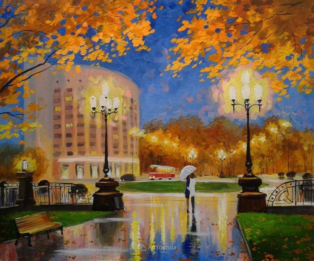 他笔下的路灯街景,很浪漫,暖心!乌克兰艺术家亚历山大·博洛托夫插图17
