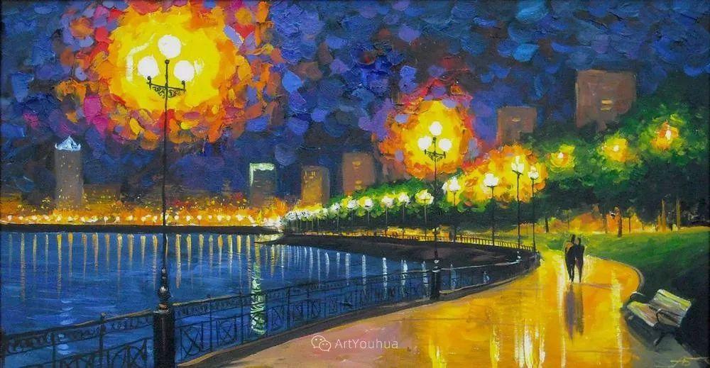 他笔下的路灯街景,很浪漫,暖心!乌克兰艺术家亚历山大·博洛托夫插图63