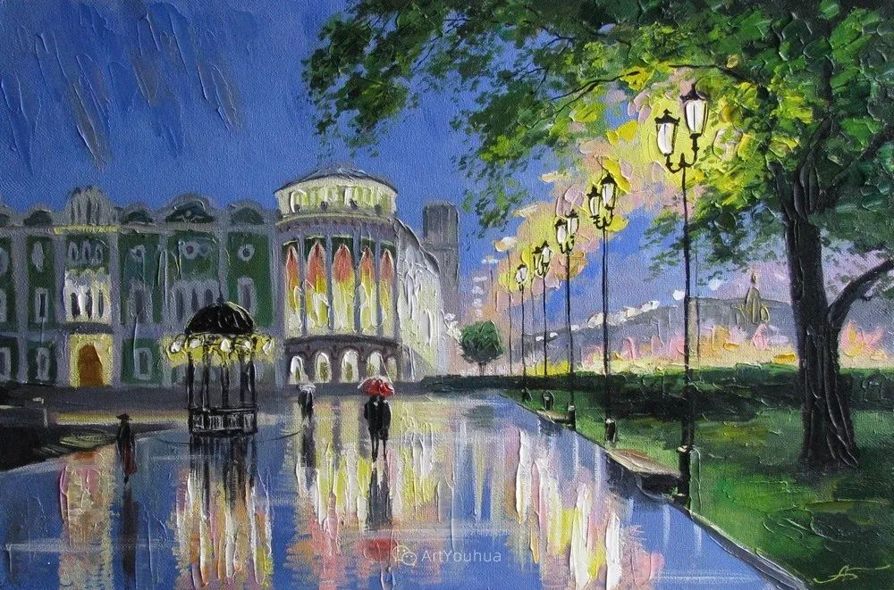 他笔下的路灯街景,很浪漫,暖心!乌克兰艺术家亚历山大·博洛托夫插图79