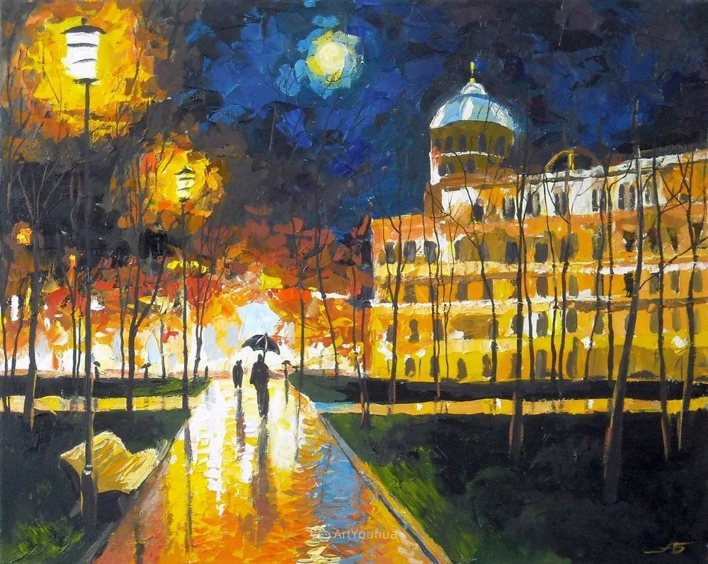 他笔下的路灯街景,很浪漫,暖心!乌克兰艺术家亚历山大·博洛托夫插图89