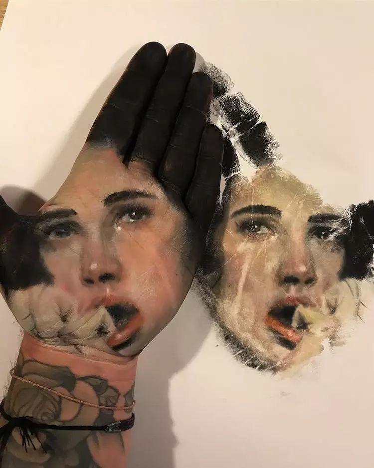 令人叫绝的手掌肖像画,美国艺术家拉塞尔·鲍威尔插图11