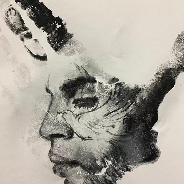 令人叫绝的手掌肖像画,美国艺术家拉塞尔·鲍威尔插图19