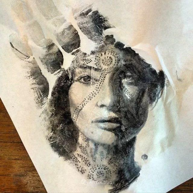令人叫绝的手掌肖像画,美国艺术家拉塞尔·鲍威尔插图23