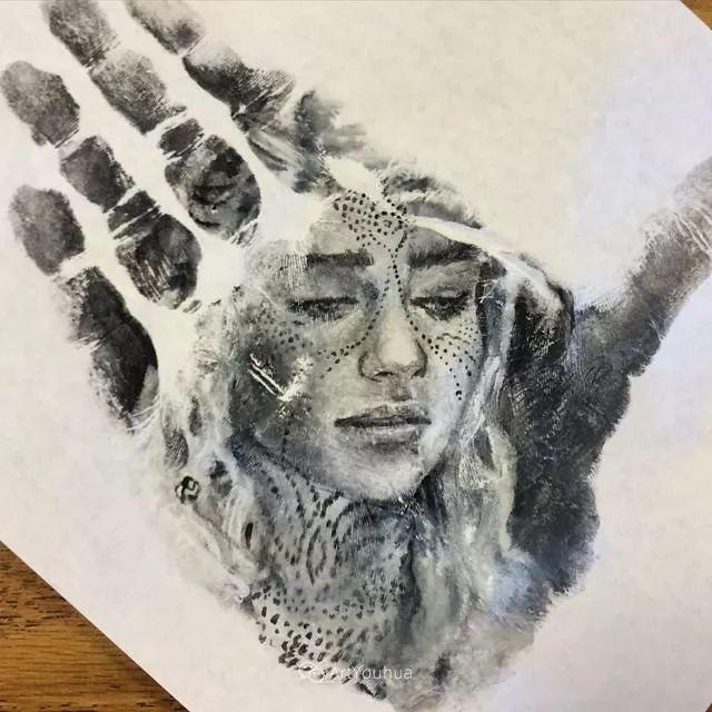 令人叫绝的手掌肖像画,美国艺术家拉塞尔·鲍威尔插图31