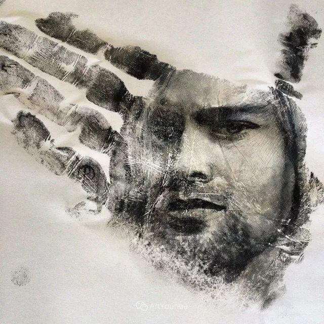 令人叫绝的手掌肖像画,美国艺术家拉塞尔·鲍威尔插图41