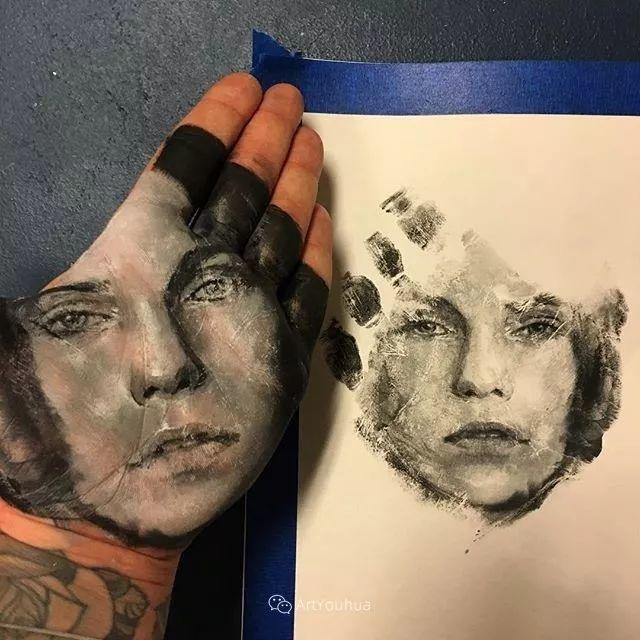 令人叫绝的手掌肖像画,美国艺术家拉塞尔·鲍威尔插图43